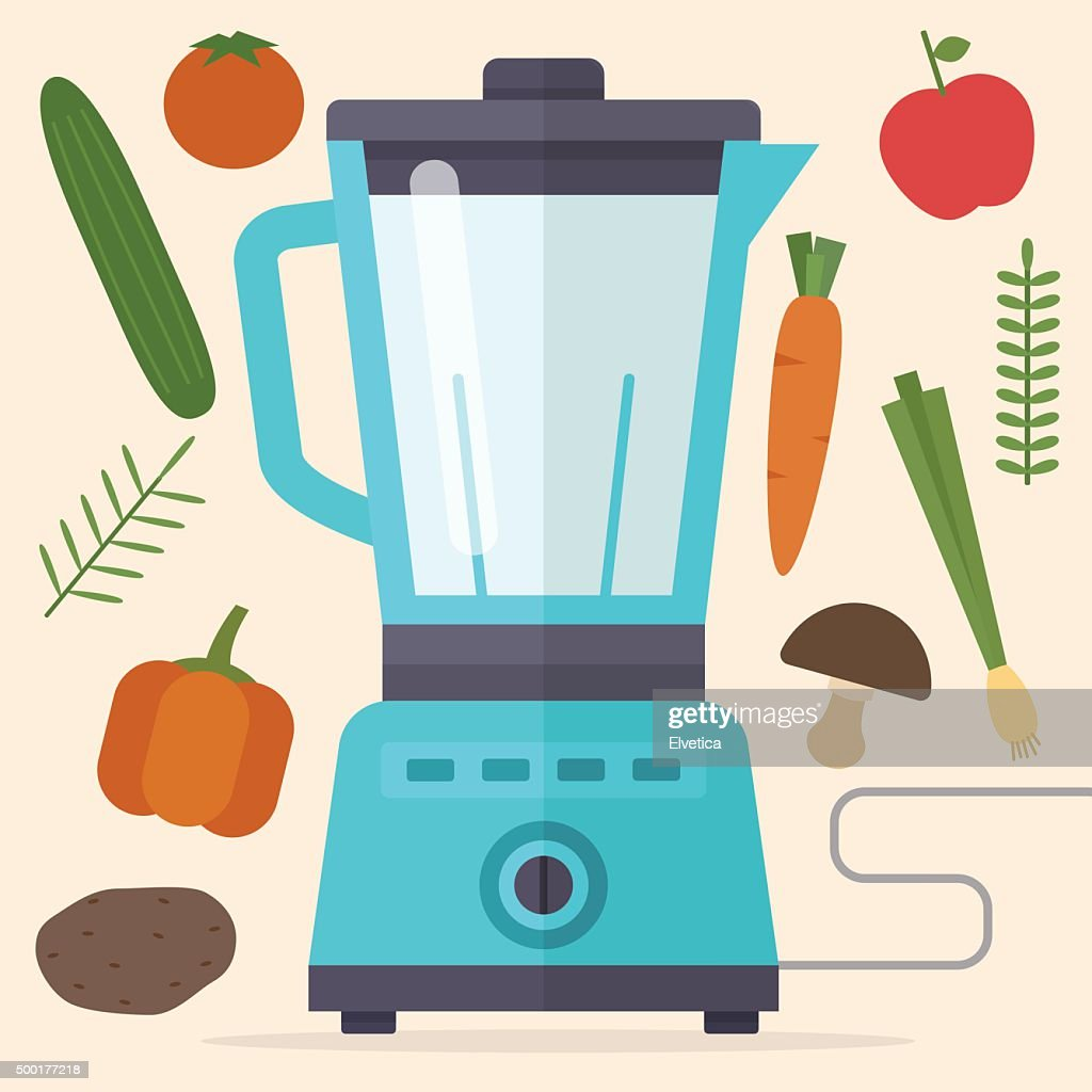 Food processor, mixer, blender and vegetables.