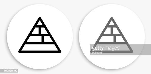 food pyramid black and white round icon - food pyramid stock illustrations