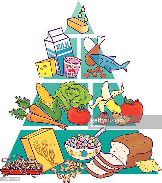 food pyramid in color - bean stock illustrations