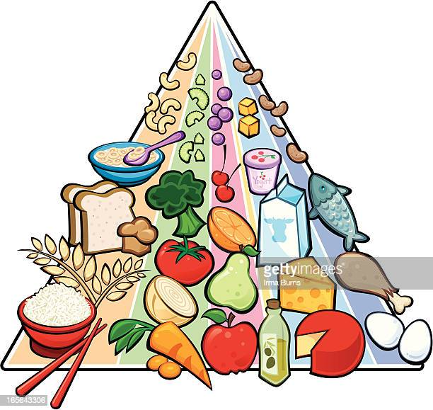 usda food pyramid - outlined version - macaroni stock illustrations, clip art, cartoons, & icons