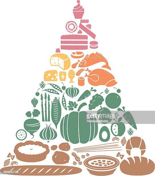 food pyramid - asparagus stock illustrations, clip art, cartoons, & icons