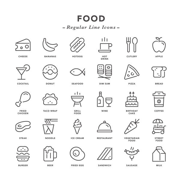 food - regular line icons - frozen food stock illustrations
