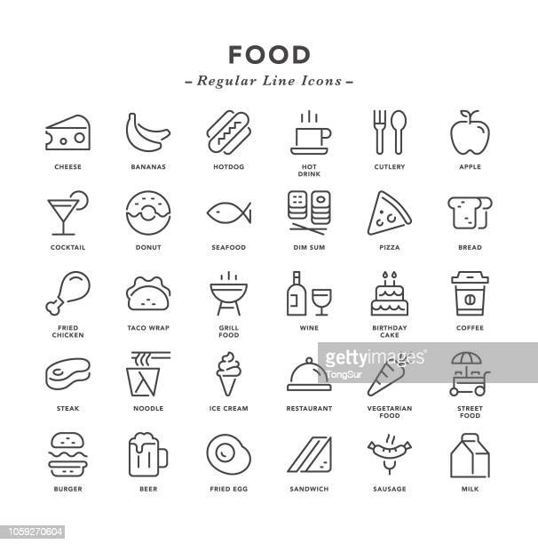 food - regular line icons - thailand stock illustrations