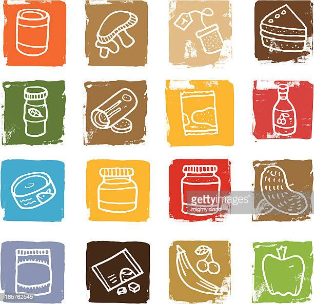 food related grunge block icon set - cracker snack stock illustrations, clip art, cartoons, & icons