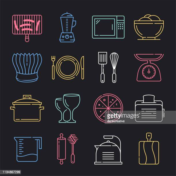 Food Safety Performance Neon Style Vector Icon Set