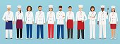 Food service occupation team standing in uniform. Group of catering characters chef, cook, waiters and barman.