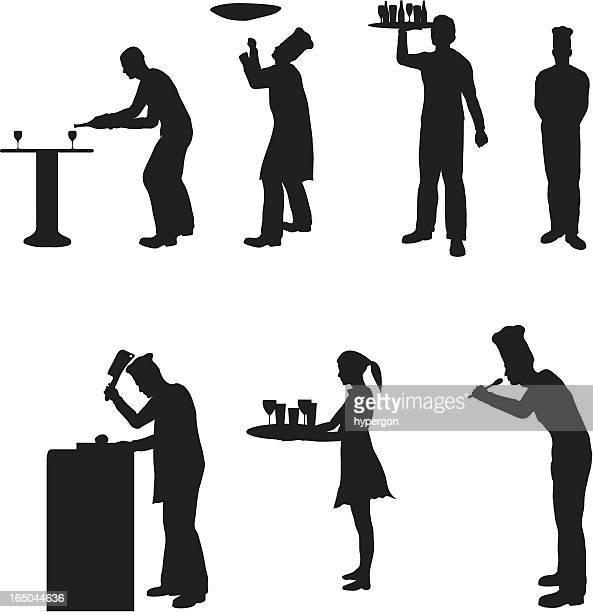 お食事サービスのシルエットベクトルコレクション(jpg - 料理人点のイラスト素材/クリップアート素材/マンガ素材/アイコン素材