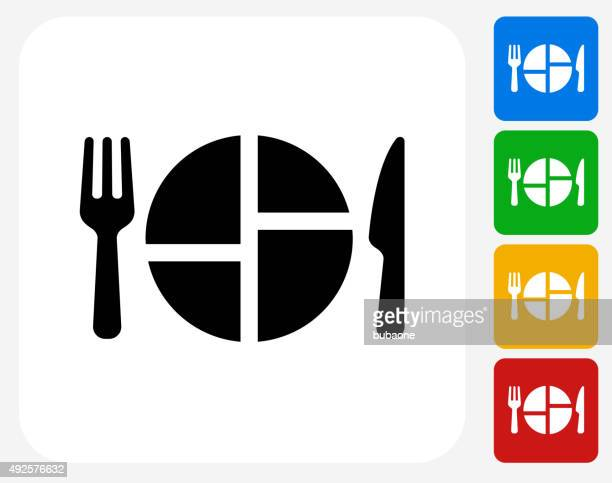 food serving icon flat graphic design - healthy eating stock illustrations, clip art, cartoons, & icons