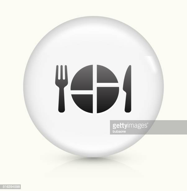 food serving icon on white round vector button - serving size stock illustrations, clip art, cartoons, & icons