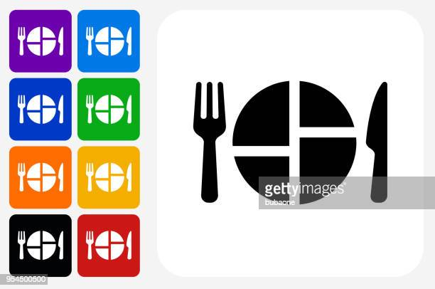food serving icon square button set - serving size stock illustrations