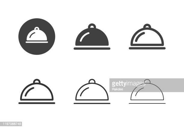 illustrations, cliparts, dessins animés et icônes de aliments servant des icônes de plateau - série multi - cloche