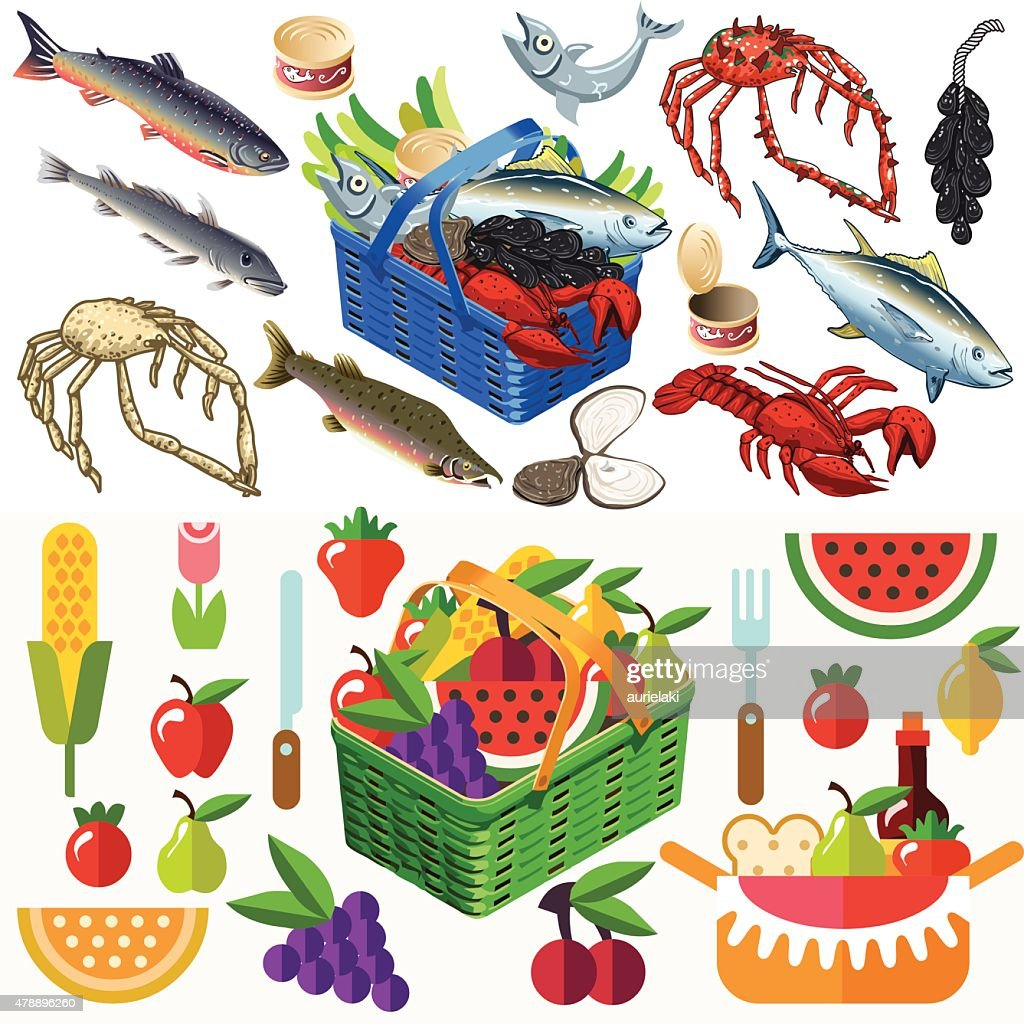 Food Set Fish and Vegetables 3D Isometric