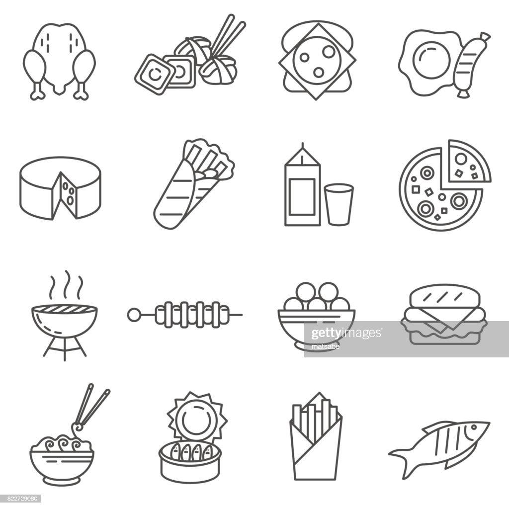 Food. set of line icons
