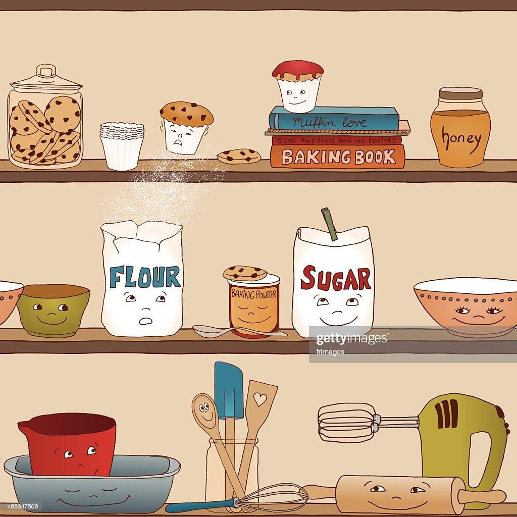 Food shelf with baking utensils (seamless pattern)