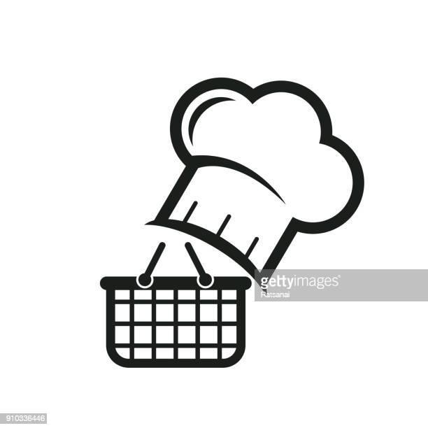 ilustrações, clipart, desenhos animados e ícones de comida de compras - chapéu de cozinheiro