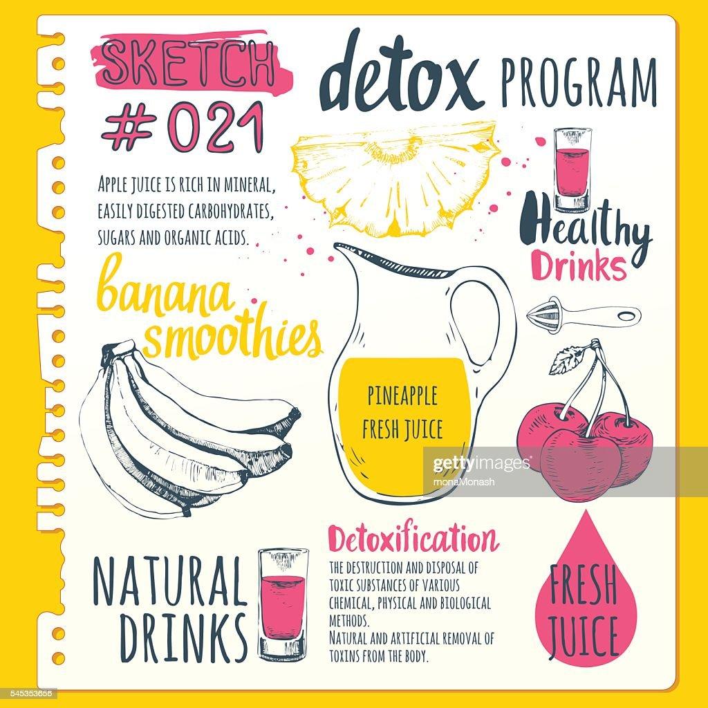 Food sketchbook with detox program.