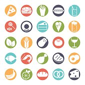 Food solid round color icons vector set