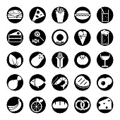 Food solid round icons vector set