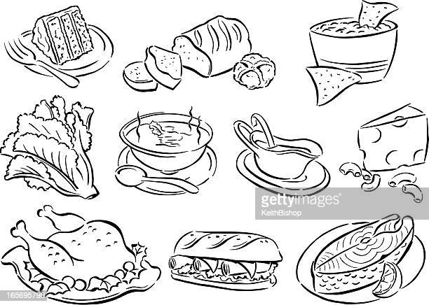 food, soup, dinner, lunch, salad, cake, cheese, turkey, salmon - dipping stock illustrations, clip art, cartoons, & icons