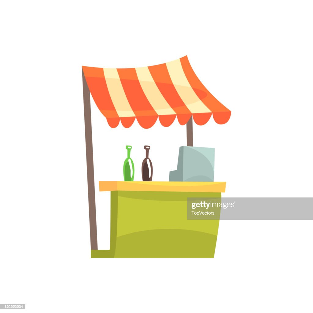 Food stall with drinks, fixed market stall for external usage cartoon vector Illustration