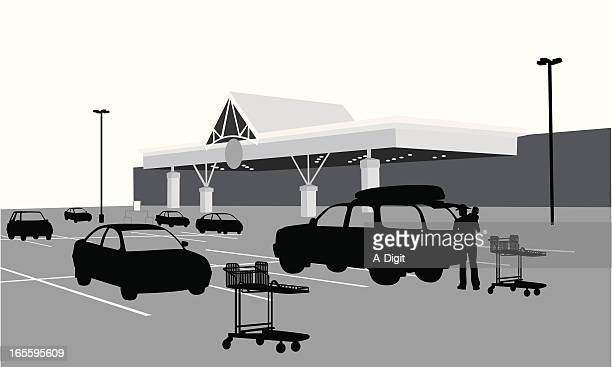 food store vector silhouette - parking stock illustrations, clip art, cartoons, & icons