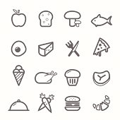 food symbol line icon set