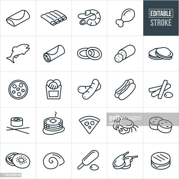 食品細線アイコン - 編集可能なストローク - ホットドッグ点のイラスト素材/クリップアート素材/マンガ素材/アイコン素材