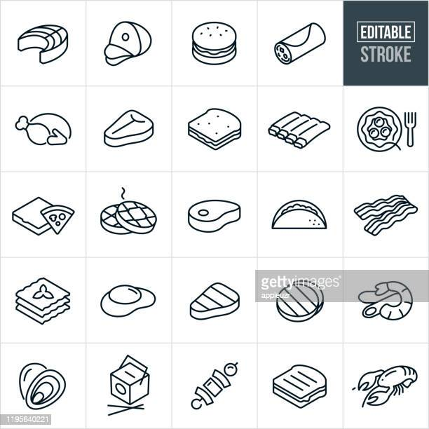 food thin line icons - editable stroke - meat stock illustrations