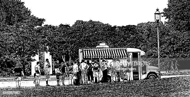 food truck and customers waiting in line - artisanal food and drink stock illustrations, clip art, cartoons, & icons