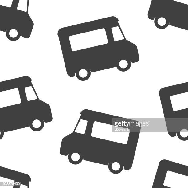 Food truck black and white seamless pattern background