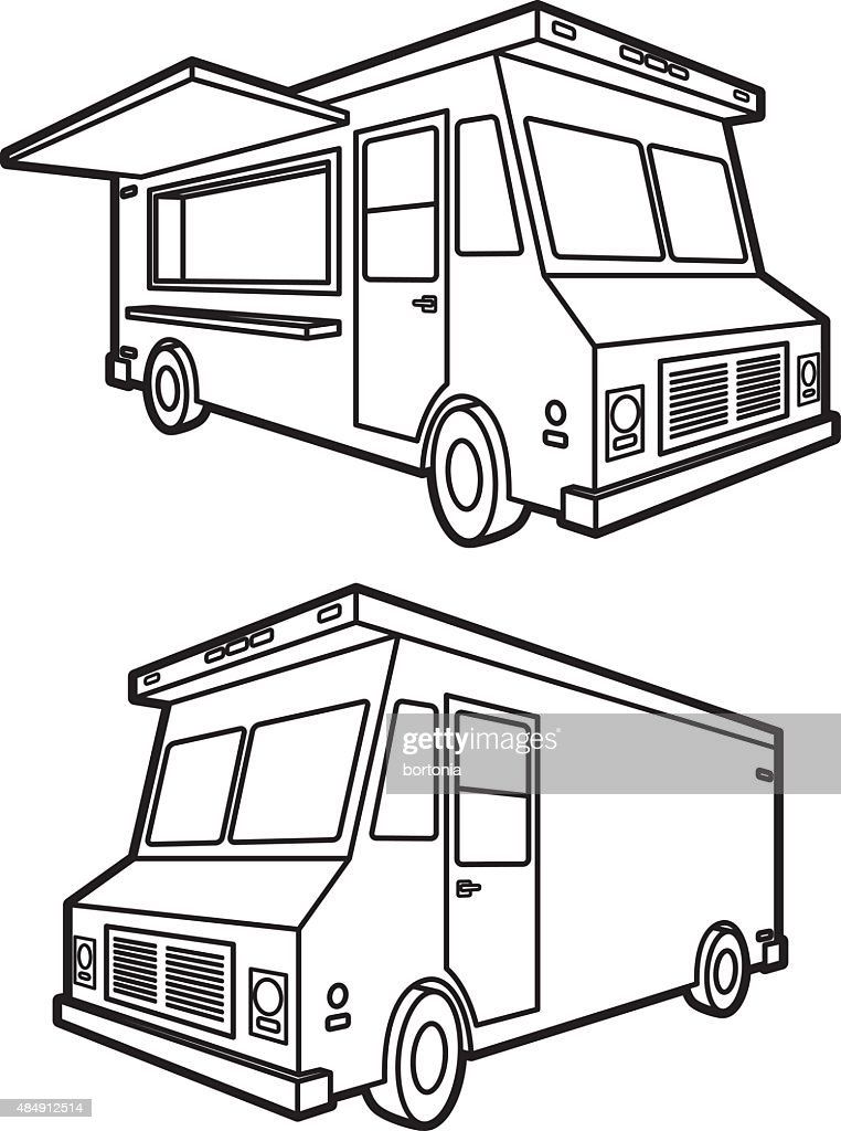 Food Truck Both Sides Black And White Icons Vector Art