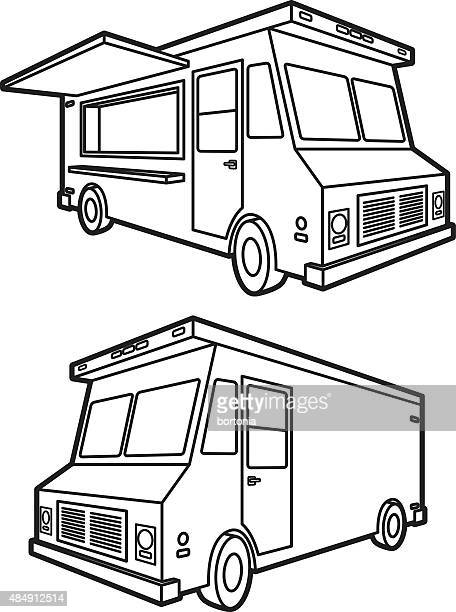 Food Truck: Both Sides, Black and White Icons