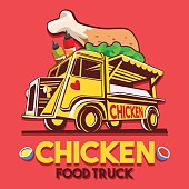 Food Truck Crispy Fried Chicken Wings Fast Delivery Service Vector icon