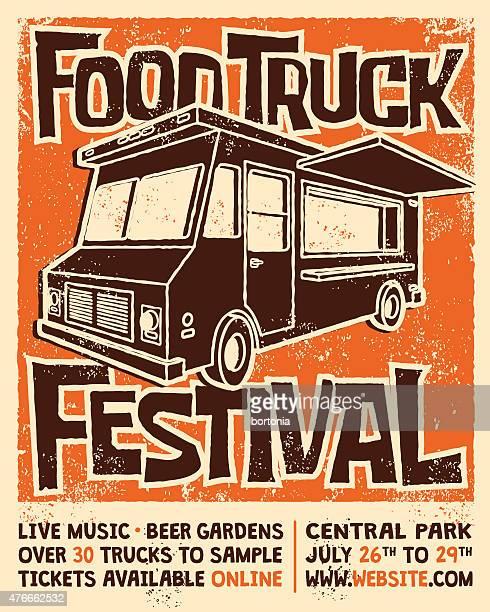 food truck festival screen printed poster vector design - music festival stock illustrations