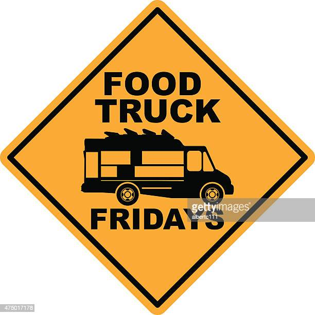 food truck friday street sign - friday stock illustrations, clip art, cartoons, & icons