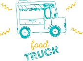 Food truck hand drawn icon design.