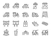 Food truck icon set. Included the icons as flea market, street food, hamburger, hotdog, trailer, business, merchant and more