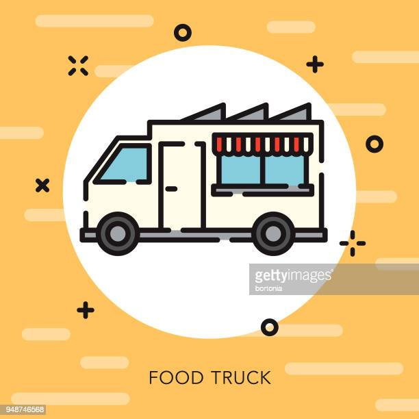 Food Truck Open Outline Fast Food Icon