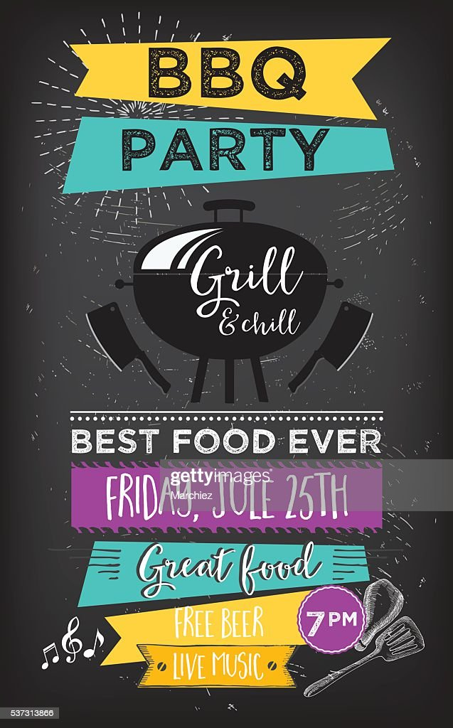 Food truck party invitation. Food menu template design.