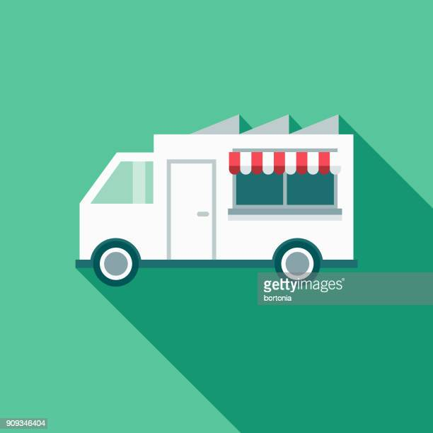 food truck restaurant flat design icon with side shadow - food truck stock illustrations