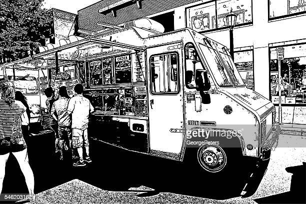 food truck serving food to hungry customers - artisanal food and drink stock illustrations, clip art, cartoons, & icons