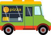 Food truck trailer vector