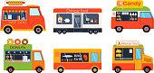 Food truck trailers vector set.