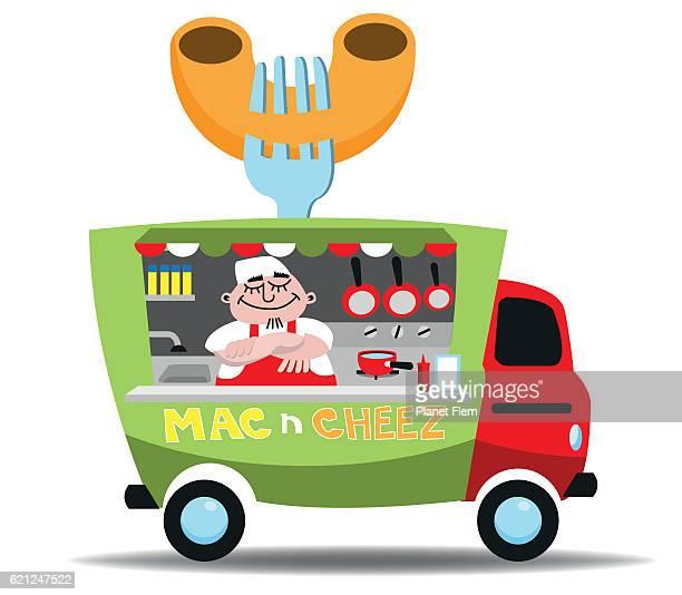 food truck - macaroni stock illustrations, clip art, cartoons, & icons