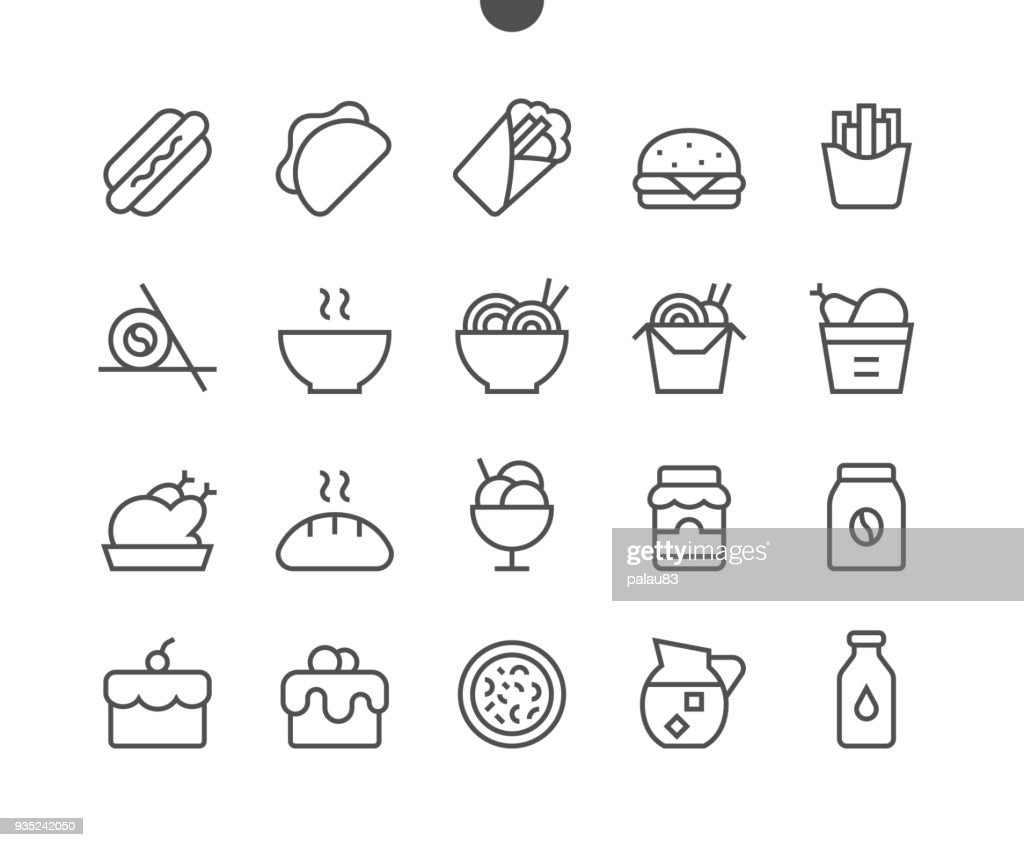 Food UI Pixel Perfect Well-crafted Vector Thin Line Icons 48x48 Ready for 24x24 Grid for Web Graphics and Apps with Editable Stroke. Simple Minimal Pictogram