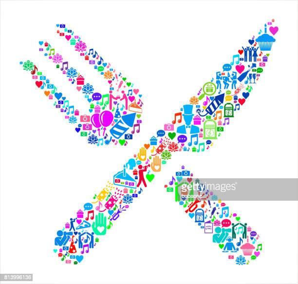 food utensils  birthday celebration vector icon pattern - social grace stock illustrations, clip art, cartoons, & icons