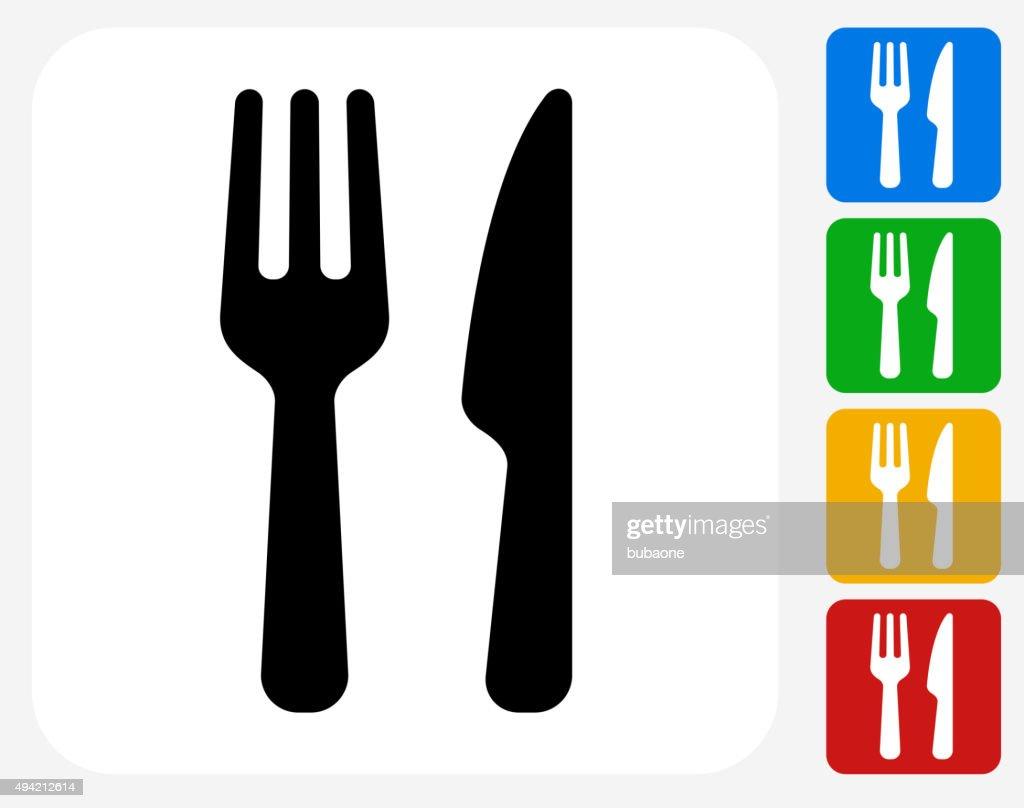 Food Utensils Icon Flat Graphic Design