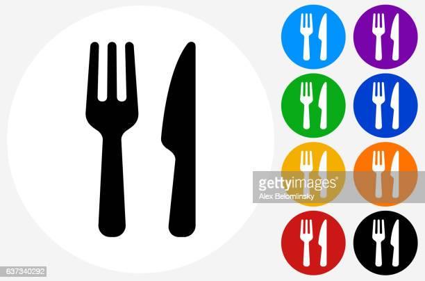 stockillustraties, clipart, cartoons en iconen met food utensils icon on flat color circle buttons - vork