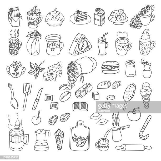 food vector doodles set - cartoon desserts stock illustrations