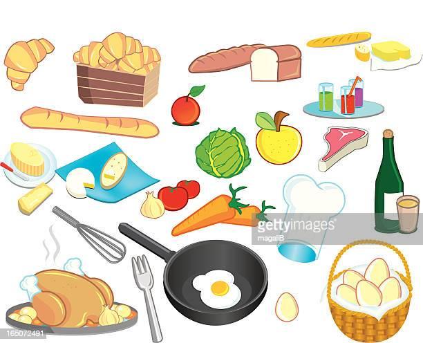 ilustraciones, imágenes clip art, dibujos animados e iconos de stock de los alimentos - chuletón